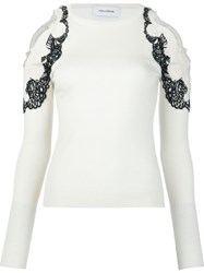 Yigal Azrouel Cold Shoulder Lace Applique Sweater White