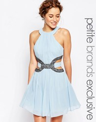 Little Mistress Petite High Neck Skater Mini Dress With Embellished Cutout Pale Blue