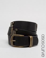 Asos Curve Cat Studded Waist And Hip Belt Black