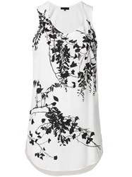 Barbara Bui Floral Flared Vest Top White