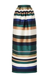 Rosetta Getty Colorblocked Satin Pleated Column Skirt White