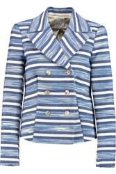 Stella Jean Spencer Striped Cotton Poplin Jacket Blue