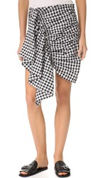 Marques Almeida Shirting Front Gathered Skirt Black Gingham