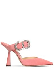 Jimmy Choo 100Mm Smokey Embellished Suede Mules Pink