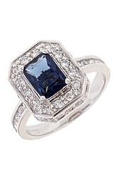 Sterling Forever Emerald Cut Sapphire Cz Ring Metallic