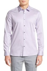 Ted Baker Modern Slim Fit Plancuf Stretch Long Sleeve Sport Shirt Purple
