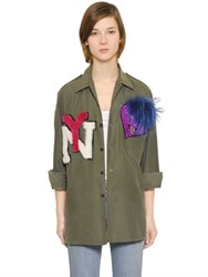 Forte Couture Yankee Cotton Shirt With Patches And Fur