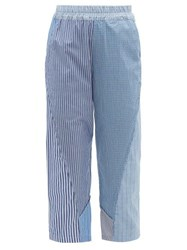 By Walid Reyzi Patchwork Cotton Poplin Cropped Trousers Blue Multi