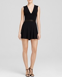 Alice Olivia Romper Mara Leather Inset Black