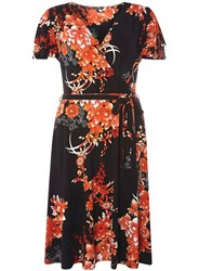 Dorothy Perkins Tall Oriental Floral Wrap Fit And Flare Dress Black
