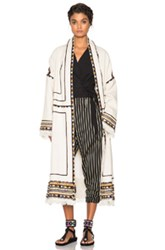 Isabel Marant Bering Embroidered Coat In White Neutrals