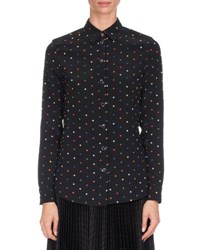 Givenchy Cross Print Silk Blouse Multi Pattern