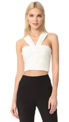 Monique Lhuillier Crop Top Silk White