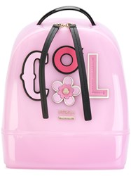 Furla Appliqued Backpack Pvc Leather Pink Purple