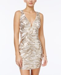 As U Wish Juniors' Sequin Swirl Bodycon Dress Gold White