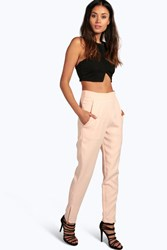 Boohoo Zip Side Pocket Detail Tailored Trousers Nude