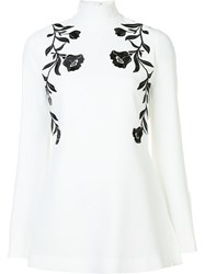 Cinq A Sept Floral Embroidered Blouse White