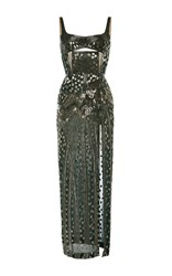 J. Mendel 3D Embroidered Balconette Gown Green
