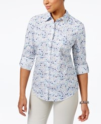 Karen Scott Petite Floral Print Cotton Roll Tab Shirt Only At Macy's Bright White Combo