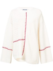 Elizabeth And James Contrast Long Sleeve Sweater White