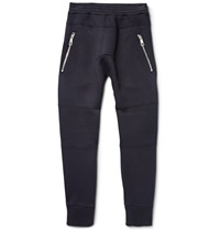 Neil Barrett Slim Fit Panelled Bonded Jersey Sweatpants Blue