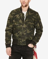 Denim And Supply Ralph Lauren Men's Slim Fit Waxed Bomber Jacket Black