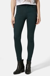 Topshop Moto 'Leigh' High Rise Skinny Jeans Teal Regular And Short Blue