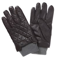 Barbour Quilted Leather Gloves Brown