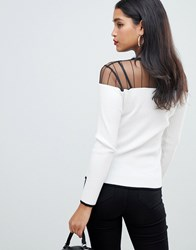 Morgan Mesh Insert Knitted Jumper In Cream