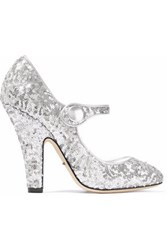 Dolce And Gabbana Sequined Metallic Leather Pumps Silver