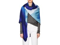 A Plan Application Abstract Wool Silk Scarf Blue