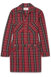 Current Elliott Tartan Denim Mini Dress Red