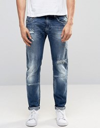 Replay Maestro No.1 Tapered Jeans Mid Wash Extreme Rip Repair Mid Wash Blue