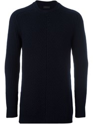 Diesel Black Gold Ribbed Crew Neck Jumper Blue