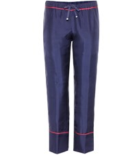 Moncler Cropped Silk Trousers Blue