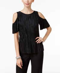 Msk Pleated Cold Shoulder Top Black
