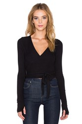 Spiritual Gangster Ballet Wrap Top Black