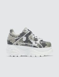 Buffalo London Classic White Low Top Camouflage Platform Sneakers