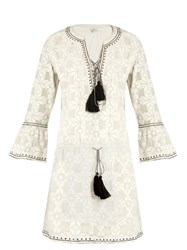 Talitha Geomtric Embroidered Cotton Dress White Black