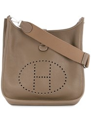 Hermes Vintage Perforated Logo Shoulder Bag Brown