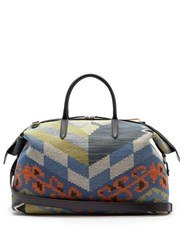 Smythson Kilim Leather Trimmed Cotton Jacquard Holdall Multi