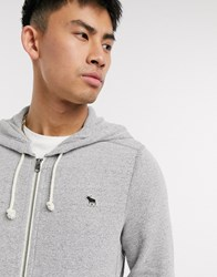 Abercrombie And Fitch Logo Zip Through Hoodie Grey