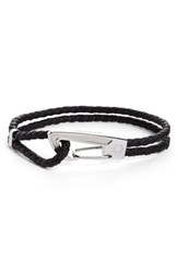 Montblanc Braided Leather Bracelet Black