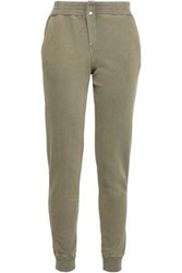 Monrow French Cotton Terry Track Pants Army Green