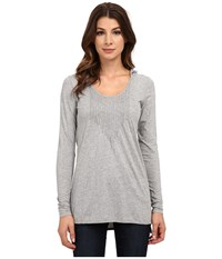 Mod O Doc Long Sleeve Pintuck Hooded Tunic Smoke Heather Women's T Shirt Gray