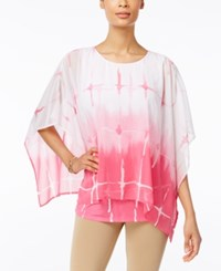 Jm Collection Petite Printed Poncho Blouse Only At Macy's Ocean Dye