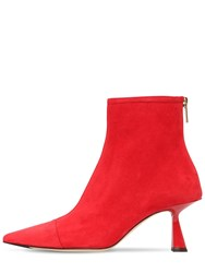 Jimmy Choo 65Mm Kix Suede Ankle Boots Red
