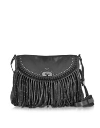 Zadig And Voltaire Vagabond Hippie Black Leather Fringe Messenger Bag
