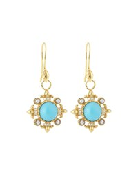 Jude Frances Judefrances Jewelry 18K Modern Compass Rose Turquoise Pearl And Diamond Earring Charms