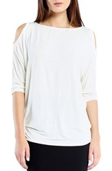 Women's Michael Stars Cold Shoulder Tee White